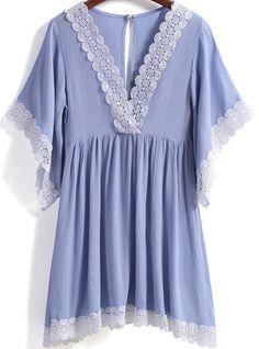 Blue V Neck Short Sleeve Lace Trims Dress - Sheinside.com