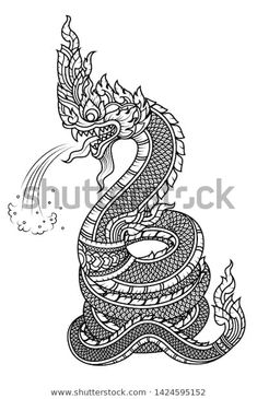 Line draw Tattoo Serpent or Naga big snake spraying water Thailand Art, Thailand Tattoo, Line Tattoos, Sleeve Tattoos, Cool Tattoos, Traditional Tattoo, Traditional Art, Thai Tattoo, Thai Art