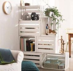 "A little paint job does wonders in making a homemade bookshelf look chic. <br /> <br />Source: <a href=""http://www.recyclart.org/2015/02/25-ways-of-reusing-old-wooden-crates-in-your-interior-design/"">L'Art de la Caisse via Recyclart</a>"