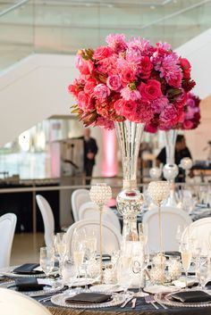 Modern Elegant Pink and Black Wedding  so cool it's from someone I know's wedding! Gorg!! @Emily Stolan  :)