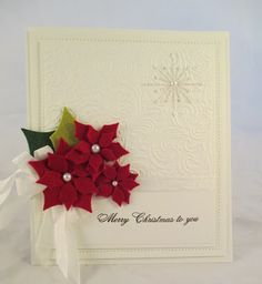 Poinsettia card by Sue Wilson - PartiCraft (Participate In Craft) Friday Dec. Create Christmas Cards, Simple Christmas Cards, Beautiful Christmas Cards, Xmas Cards, Handmade Christmas, Holiday Cards, Christmas Crafts, Poinsettia Cards, Christmas Poinsettia