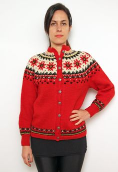 Vintage Nordic Wool Fair Isle Cardigan 60s Knit sweater red green cream