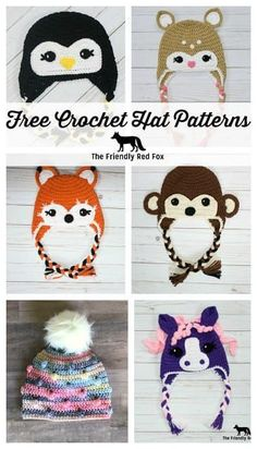 Free Crochet Hat Patterns Free Crochet Hat Patterns Free Crochet Hat Patterns The Friendly Red Fox. There is something for everyone in this collection of free crochet hat patterns! The post Free Crochet Hat Patterns appeared first on Craft for Boys. Crochet Animal Hats, Crochet Kids Hats, Crochet Beanie Pattern, Crochet Fox, Crochet Gifts, Quick Crochet, Crotchet, Kids Crochet Hats Free Pattern, Crochet Monkey Hat