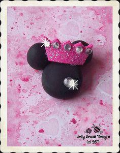 Princess Minnie polymer clay bead/charm/bow by jellybeadsdesigns, $3.75