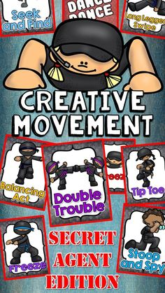 dance and movement Secret Agent Freeze Dance and Creative Movement Great for brain breaks or for inspiring creative movement, this set will have your kids wiggling those wiggles out Movement Activities, Class Activities, Physical Activities, Toddler Activities, Music Classroom, Classroom Themes, Detective, Freeze Dance, Kindergarten Music