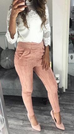 #fall #style  Pink Pants // Lace Top