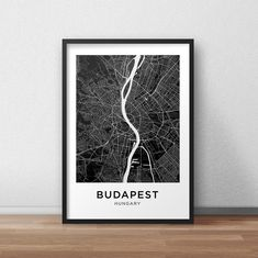 Budapest Map Print, Printable Budapest Map, Budapest City Map, Budapest Street Map, Budapest Poster, Budapest Wall Art, Black And White City Map, Download, Digital File