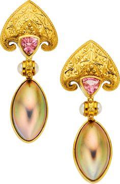 Tourmaline, Cultured Pearl, Gold Earrings on Heritage Auctions