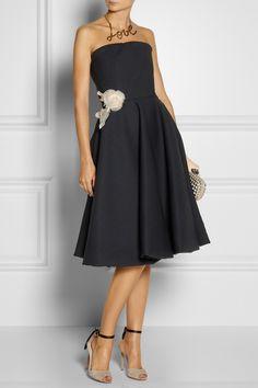Lanvin Floral-appliquéd woven dress NET-A-PORTER.COM