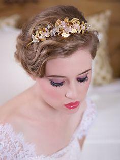 Gold, Silver, Blush, Flower Hair Crown, Pearl Crystal Headband, Headpiece, Hair Vine, Wedding Halo, Bridal Tiara, STYLE 128 - Gold or Silver...