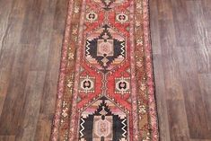 A Beautiful Tribal One Of a Kind Persian Heriz runner rug is Hand Knotted by skillful weavers in Persia with Wool Material. This rug is in Very Good (Abrash) condition. The primary color is Brown. Oriental, Kitchen Rug, Rug Runner, Primary Colors, Persian, Bohemian Rug, Wool, Living Room, Rugs