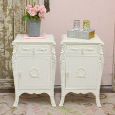Pair of Elegant Vintage Nightstands with Roses $550.00 #thebellacottage #shabbychic #OOAK