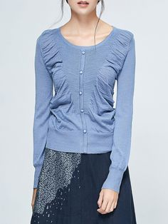 #AdoreWe #StyleWe Eall.cz Pleated Folds Knitted Long Sleeved Top - AdoreWe.com