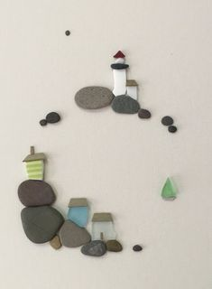 12 by 16 sea side art made with pebbles sea glass and sea pottery by sharon… (christmas art)