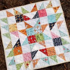 My first finish of 2017 (quilted and bound) as small as it may be. I'll need to make that a priority this year. Big Block Quilts, Star Quilt Blocks, Star Quilts, Patchwork Quilt, Scrappy Quilts, Mini Quilts, Quilting Designs, Quilting Projects, Charm Pack Quilts