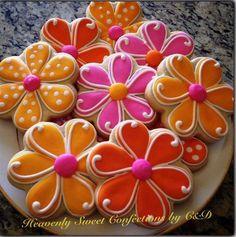 Spring Flower Sugar Cookies~ By Heavenly sweet confections, pink, Orange, polka dot Summer Cookies, Fancy Cookies, Cute Cookies, Easter Cookies, Cupcake Cookies, Birthday Cookies, Cookie Favors, Heart Cookies, Valentine Cookies