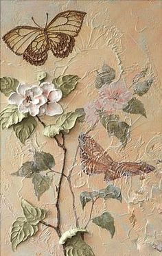 💚luv the butterflies-so much talent Plaster Sculpture, Sculpture Painting, Wall Sculptures, Plaster Crafts, Plaster Art, Texture Art, Texture Painting, Art Corner, Stencil Painting