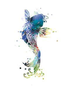 Koi Fish Art Print Koi Fish Wall Art Poster Nature by artsaren