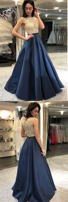 A-Line Round Neck Floor-Length Navy Blue Prom Dress with Sequins, modest navy blue long prom dresses with sequins · PeachGirlDress · Online Store Powered by Storenvy Prom Dresses Long Modest, Navy Blue Prom Dresses, Best Prom Dresses, Elegant Prom Dresses, Long Prom Gowns, Formal Gowns, Nice Dresses, Dress Prom, Short Prom