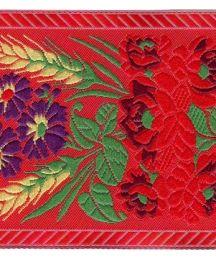 """Extra Wide Red Floral Folk Costume Trim ~ Czech Republic ~ 2-3/4"""" wide"""