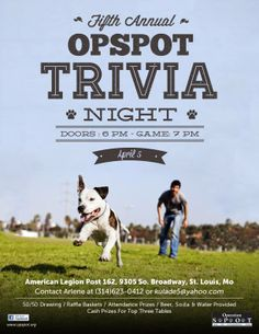 Trivia Night for OpSpot (promotes spaying and neutering)