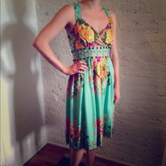 Plenty Silk Empire Waist Party Dress Very fun floral dress in bright colors with a full skirt.  Embellished with green glass beads at empire waist and bottom hem.  Really comfortable!  100% silk.  A few minor snags in lower skirt as in last photo.  Fabric is so voluminous they go unnoticed. Plenty by Tracy Reese Dresses