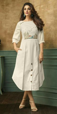Buy White Embroidered Dress online, SKU Code: This White color Party dresses and gown for Women comes with Embroidered Satin Blend. Simple Kurti Designs, Kurta Designs Women, Salwar Designs, Blouse Designs, Fancy Kurti, Kurti Embroidery Design, White Embroidered Dress, Kurta Neck Design, Kurti Styles