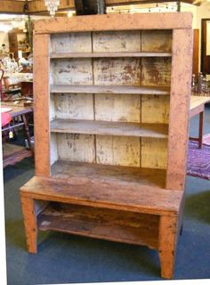 Antique step back cupboard with old salmon & blue : Lot 104P