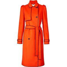 Kenzo Contrast Stitch Woolen Trench ($1,190) ❤ liked on Polyvore featuring outerwear, coats, orange, orange trench coat, woolen coat, woolen trench coat, kenzo and double breasted wool coat