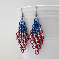 American flag chainmaille earrings, $28