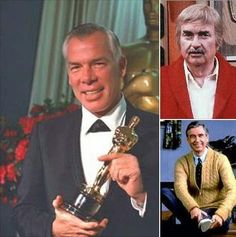 """Actor Lee Marvin (left) star of """"The Dirty Dozen"""" movie franchise. Bob Keeshan (top right) aka """"Captain Kangaroo"""", Mr. Rogers (bottom right). All 3 men, certified authentic war heroes. Who would've guessed."""
