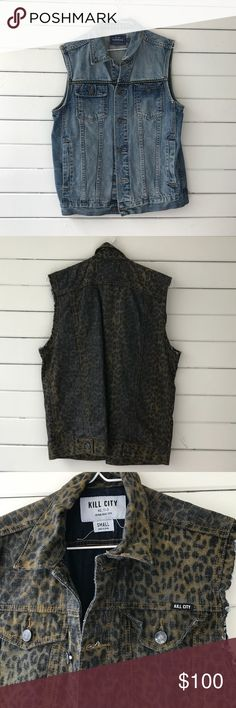 "Denim cheetah print with brown,Tan and blue vest Pre-Owned, never worn ""Kill City"" Denim Cheetah Print Vest with Brown, Tan And Dark Wash Blue print. This Vest is totally a go to piece that can be worn in countless ways. Great Spring staple for your closet. Kill City Jackets & Coats Vests"