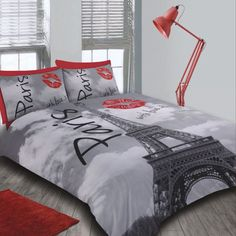 Paris City Eiffel Tower Bedding Double Duvet Quilt Cover & Pillowcase Bed Set in Home & Garden, Bedding, Duvet Covers & Sets Paris Room Decor, Paris Rooms, Paris Bedroom, Bedroom Red, Bedroom Themes, Bedroom Decor, Paris Theme, Master Bedroom, Plywood Furniture