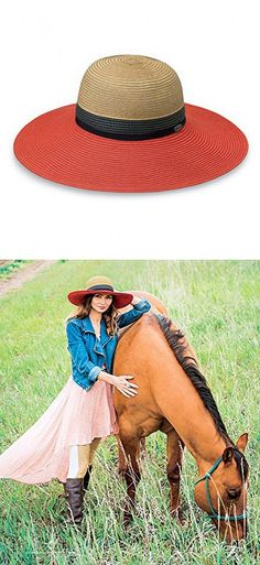 c3b35f45500 Wallaroo Women s St. Tropez Sun Hat UPF 50+ - Adjustable Fit (Orange Combo