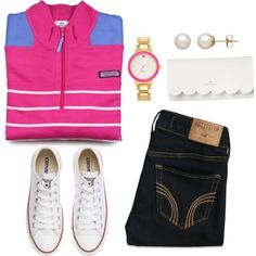 Untitled #82 by valerienwashington on Polyvore featuring polyvore, fashion, style, Vineyard Vines, Hollister Co., Converse, Kate Spade and Honora