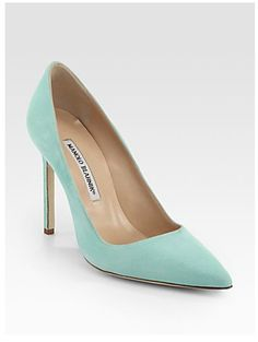 the mint color is refreshing for summer and reminds me to stay cool and comfortable during the hot months  [Manolo Blahnik BB Suede Point-Toe Pumps]