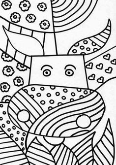 Coloring pages of the painter Romero Britto Works kunst Arte Pop, Doodle Art, Zen Doodle, Colouring Pages, Coloring Books, Documents D'art, Britto Disney, Classe D'art, Art Handouts