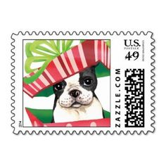 Super cute Christmas postage stamps for Boston Terrier lovers!  #bostonterrierchristmas