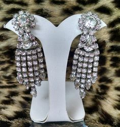 Stunning Silver Weiss Rhinestone Dangle by OurTreasuresForever