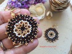 Seed Beaded Earrings Name: Cloud Dancer Mandala Earrings Seed Bead Earrings, Beaded Earrings, Etsy Earrings, Seed Beads, Fringe Earrings, Statement Earrings, Beaded Jewelry Patterns, Geometric Jewelry, Beading Patterns
