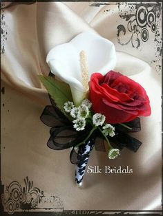 White Garden Rose Boutonniere white mens boutonniere with black ribbon | boutonnieres and