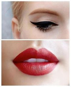 Complete your Valentine's Day pinup look with a mat red lip and strong sweep of eyeliner. Simple and perfect.