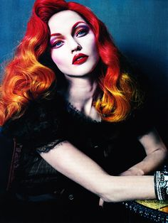 Vogue Italy did a small pictorial featuring model Sasha Pivovarova modeling animated hairstyles and luminous makeup. One of them I believe has taken inspiration from Jessica Rabbit (Who Framed Roger Rabbit)