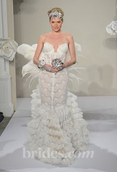 pictures of pnina tornai wedding dresses | pnina tornai 2013 style 4195 strapless lace mermaid wedding dress