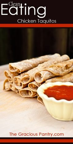 """Clean Eating Chicken Taquitos Healthy Chicken Taquitos! Best """"make-ahead"""" meal or snack ever!!!"""