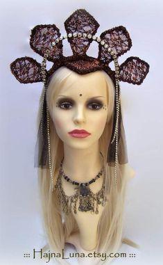 Tribal Fusion Headdress, Goth Crown by HajnaLuna  #tribalfusion #headdress