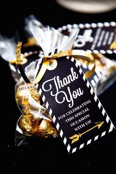you favors at a black and gold graduation party! See more party planning ideas at !Thank you favors at a black and gold graduation party! See more party planning ideas at ! Graduation Party Favors, College Graduation Parties, Graduation Celebration, Graduation Decorations, School Parties, Grad Parties, Graduation Ideas, Retirement Party Favors, Adult Party Favors