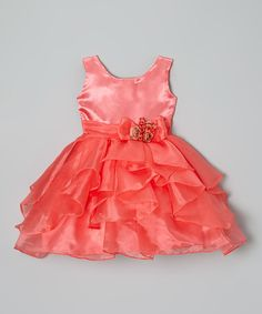 This Coral Flower Overlay Dress - Infant, Toddler & Girls by Kid Fashion is perfect! #zulilyfinds