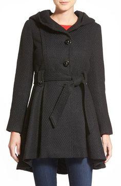 New Womens Plus Size Tonal Floral Print Hooded Mac Rain Coat Jacket 8-24
