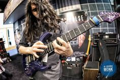Hedras Ramos shredding his Cort guitar at the Laney booth #namm2017